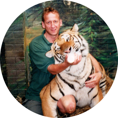 Martin Hill and Indy the Tiger